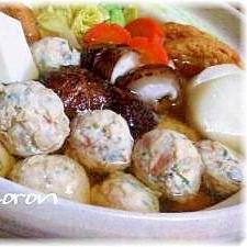 海老紫蘇鶏団子 de 寄せ鍋