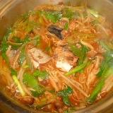 さば味噌煮缶と長葱、もやしの簡単煮