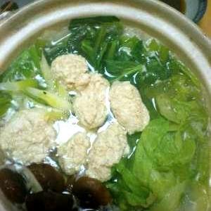 「お豆腐鶏つみれ」で、シンプル和鍋*