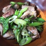 豚バラ肉とネギの塩胡椒炒め