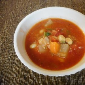 大豆と大根のトマトスープバジル風味