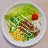 キーマカレーと彩りサラダの冷し中華