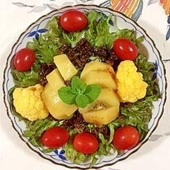 カリフラワーを入れて、キウイのサラダ