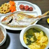 簡単♡食い初め♡(タイの塩焼き お吸い物 筑前煮)