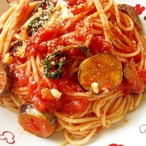 ナスのトマトソースパスタ