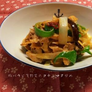 豚バラと夏野菜のコチュマヨ炒め