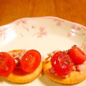 イベリコ豚とミニトマトのおつまみクラッカー