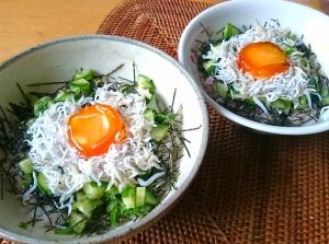 簡単ランチに!卵黄しょうゆ漬のしらす丼