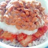 納豆の食べ方-キムチ&大根おろし♪