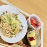 素麺チャンプル定食(さつま芋レモン煮、トマト和え)
