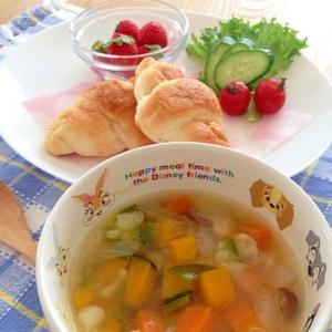 朝スープ☆簡単 クズ野菜deコンソメスープ♪