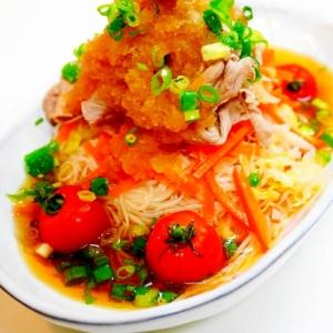 大根おろし+素麺+梅=超サッパリ!豚しゃぶ素麺
