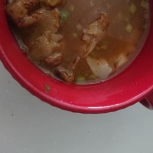 鶏皮出汁のニラスープ