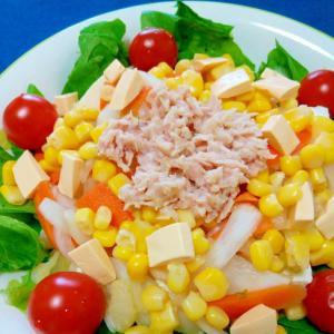 万能酢で☆わかめとツナのトマトチーズ豆腐サラダ♪