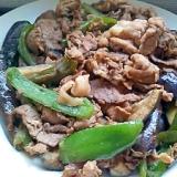 なすとピーマンと牛肉&豚肉の中華炒め。