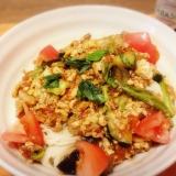 酸味爽やか☆イタリアン風トマトチャンプルー素麺♬