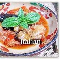 なすとひき肉、赤ピーマンのイタリアン煮込み♪