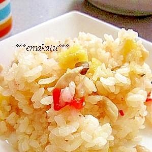 さつまいもときのこの秋味☆炊き込みご飯