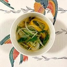 パプリカ、白玉葱、水菜のコンソメスープ