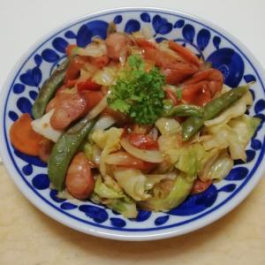 チョリソーと野菜のケチャップ炒め