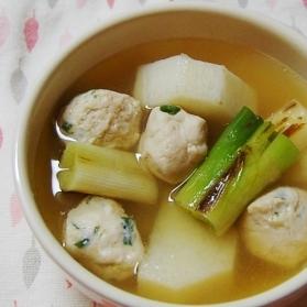 長いもと焼き葱の鶏団子あったかスープ