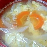 人参と玉ねぎとたまごの和風スープ