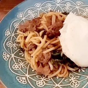 【簡単】ターサイと牛肉の焼うどん ウェイパー風味