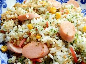 お魚食べてネ❤魚肉ソ&天かす炒飯♪(ポン酢)