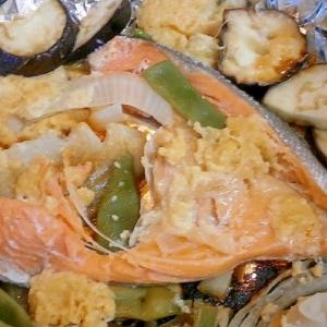 麹味噌で!鮭と夏野菜のホイル焼き