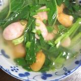 空芯菜とウインナーのしょうがスープ(^^)