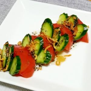 簡単5分で☆トマトときゅうりのカプレーゼ風サラダ