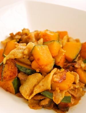 かぼちゃと豚肉の和風カレー炒め