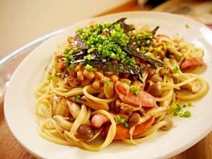 きのこと納豆の和風ぺペロンチーノ