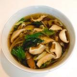 椎茸と長ネギとモロヘイヤの☆簡単中華醤油スープ