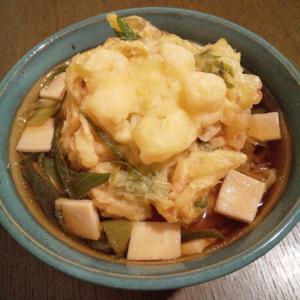長ねぎ&高野豆腐&かき揚げのお蕎麦