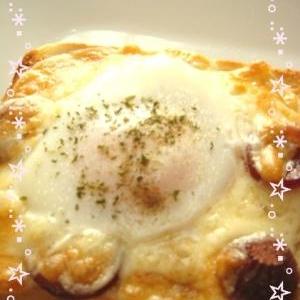 ★簡単★半熟卵のピザ食パン