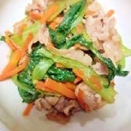 チンゲン菜と豚肉の柚子胡椒炒め