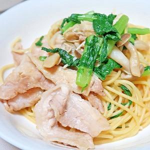 大根菜ときのこと豚肉のバター醤油スパ☆減塩・低カリ