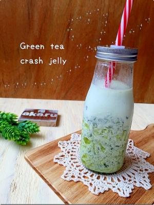 抹茶のクラッシュゼリー♪抹茶ミルクが美味しいよっ♡