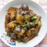 茄子と豚ひき肉ゴマ味噌炒め