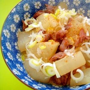 砂肝の皮と大根の味噌煮