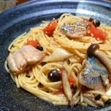 秋刀魚と茸のココナッツオイルパスタ