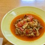 トマトの水分だけ*豚肩の薄切り肉でトマトスープ煮