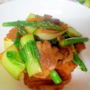 ゆで豚とアスパラ、青梗菜の味噌炒め