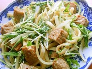 お魚ハンバーグ&水菜で❤焼きうどん♪(バター他)