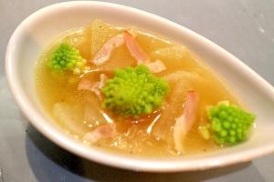 【時短・レンジで作る】大根とロマネスコの野菜スープ