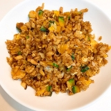 夏に美味しい☆ かぼちゃと椎茸のカレー炒飯