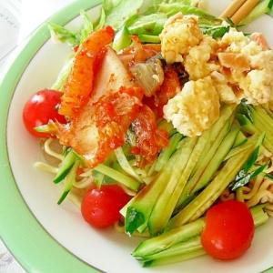 キムチとポテトサラダの冷やし中華