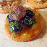 金柑ジャムと黒豆と餡子のリッツ
