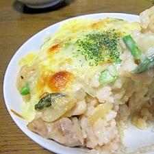 塩麹で簡単☆鶏もも肉とアスパラのヘルシー豆乳ドリア